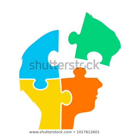 Head of a woman made of four jigsaw puzzle pieces Stock photo © adrian_n
