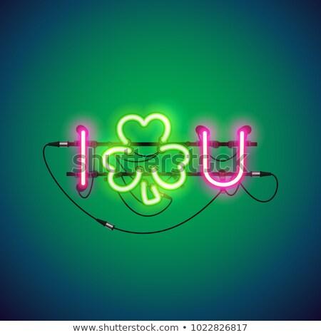 Szerencse neonreklám izzó neon feliratok gyors Stock fotó © Voysla