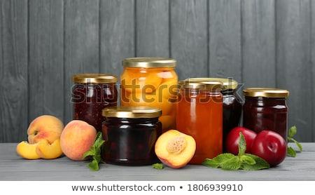 Megőrzött gyümölcsök friss bögre senki közelkép Stock fotó © IS2