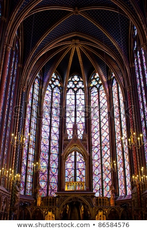 Stained glass windows of Saint Chapelle Stock photo © neirfy
