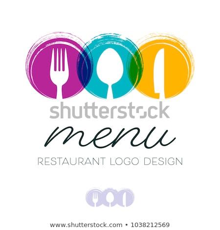 voedsel · restaurant · menu · ontwerp · violet · bestek - stockfoto © blumer1979