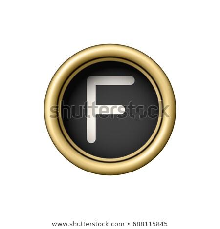Letter F. Vintage golden typewriter button. Stock photo © pakete