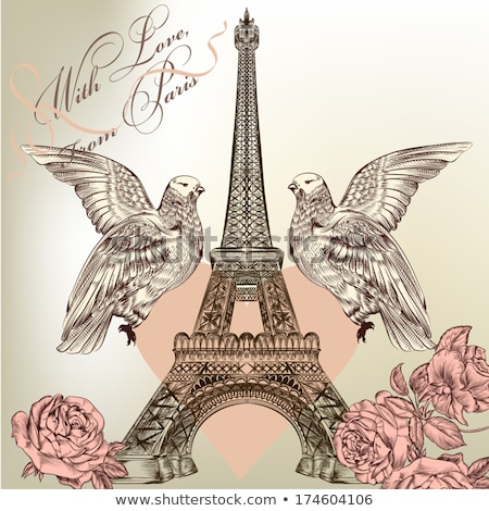 Eiffel Tower and doves Stock photo © Givaga
