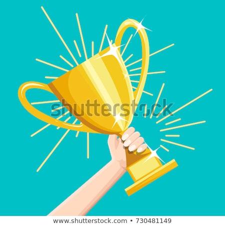 Gouden trofee beker vector cartoon illustratie Stockfoto © RAStudio