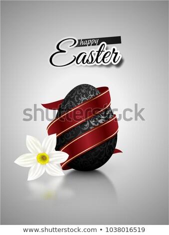 Fekete valósághű tojás fémes virágmintás minta Stock fotó © Iaroslava
