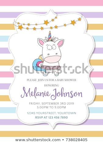 Beautiful baby shower card template with lovely baby unicorn Stock photo © balasoiu