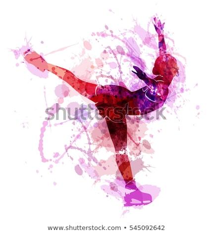 Feminino descobrir patinador asiático posando patins Foto stock © RAStudio