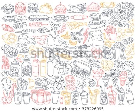 Stock fotó: Gyorsételek · hamburger · ital · sültkrumpli · rajz · rajz