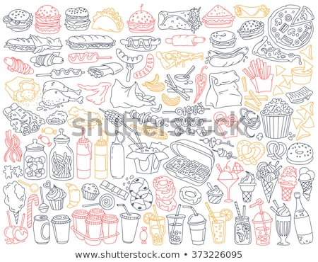 conjunto · vegetal · calorias · branco · ilustração · comida - foto stock © hittoon
