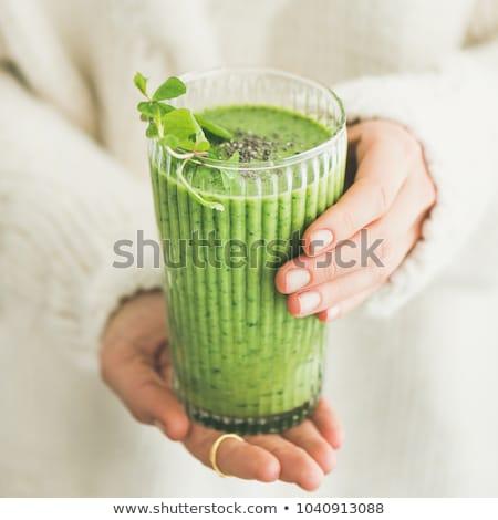 zöld · detoxikáló · smoothie · hozzávalók · fehér · fa · asztal - stock fotó © Lana_M