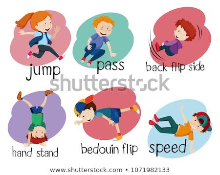 ジャンプ · 飛行 · 人 · シルエット · ベクトル · 女性 - ストックフォト © bluering