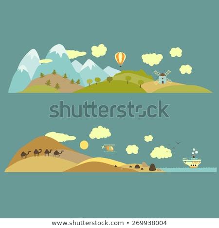 gün · batımı · Arizona · çöl · manzara · dağlar · güneşli - stok fotoğraf © bluering