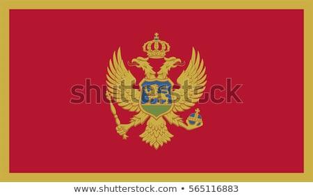 Karadağ bayrak beyaz dünya kumaş kırmızı Stok fotoğraf © butenkow