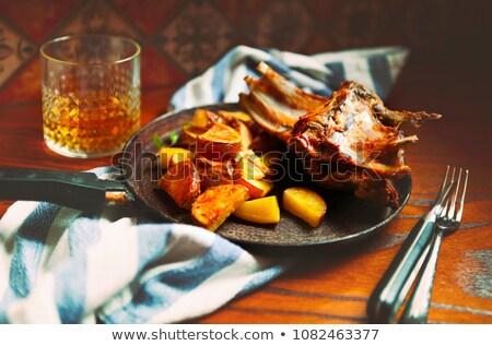 Kecske hús mártás pörkölt krumpli serpenyő Stock fotó © dashapetrenko