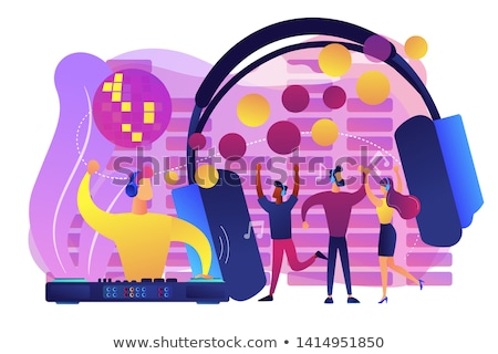Vector illustration party young people crowd dancing background Stock photo © Zoa-Arts
