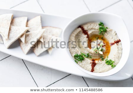 organic hummus dip and pita bread set snack in israel Stock photo © travelphotography