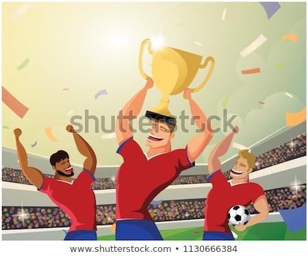 счастливым футбольным мячом трофей Сток-фото © hittoon
