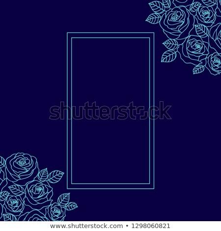 kék · skicc · rózsák · koszorú · négyszögletes · keret - stock fotó © TasiPas