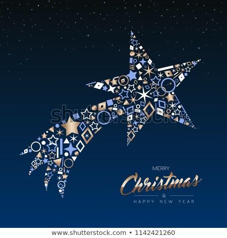 Navidad año nuevo cobre estrella fugaz tarjeta alegre Foto stock © cienpies