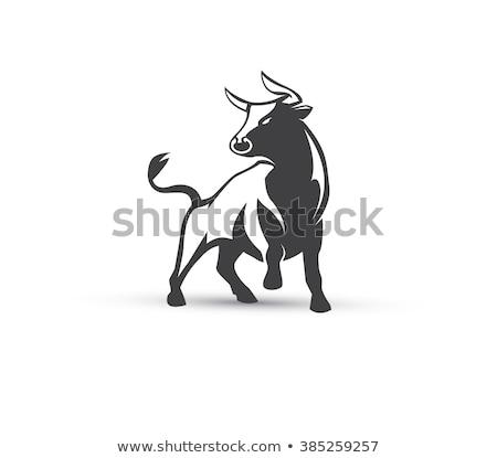 красный Cartoon бык икона вектора иллюстрация Сток-фото © cidepix