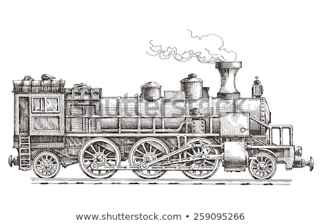 Vintage locomotiva rabisco ícone Foto stock © RAStudio