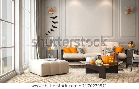 Calabaza de halloween fantasma luz gris Foto stock © Wetzkaz