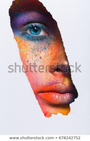 小さな · ブルネット · 創造 · 化粧 · ゴージャス · 孔雀 - ストックフォト © acidgrey