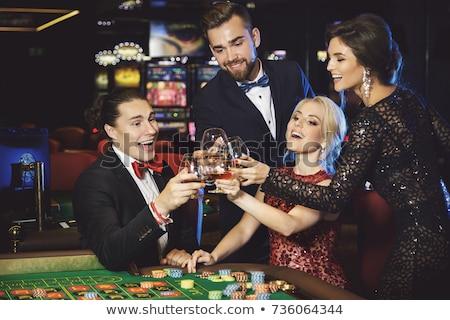 Csoport boldog nők barátok Las Vegas turizmus Stock fotó © dolgachov