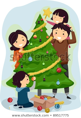 Parents With Children Decorating A Christmas Tree Vector. Isolated Illustration Stock photo © pikepicture