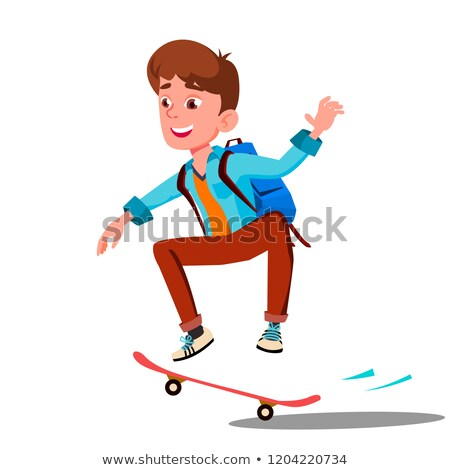 Schoolboy Skateboarding With Backpack On His Back Vector. Isolated Illustration Stock photo © pikepicture