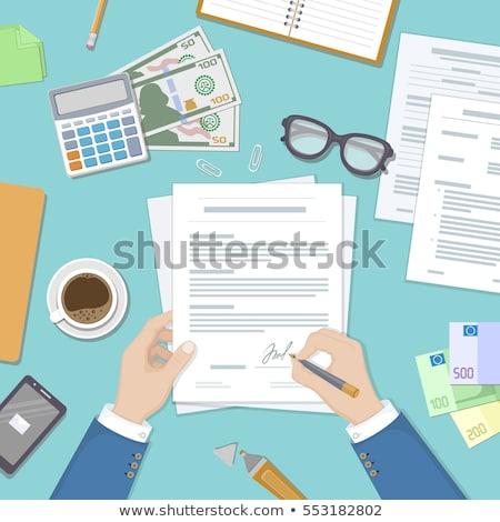 homem · assinatura · contrato · sessão · tabela · vetor - foto stock © pikepicture