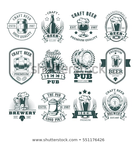 Craft Beer Glass and Barrel Vector Illustration Stock photo © robuart