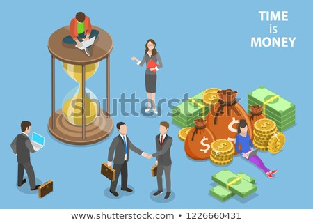 Flat isometric vector concept of time is money, income growth, roi. Stock photo © TarikVision