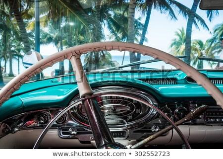 Kék taxi Kuba hátsó nézet autó zöld Stock fotó © julianpetersphotos