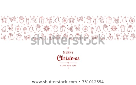 Red Christmas Background With Holly Berry Bow Stock photo © barbaliss