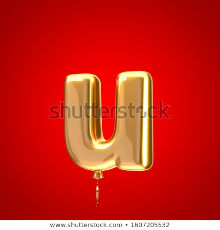Red glossy font Letter U 3D Stock photo © djmilic
