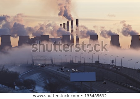 Smoke and fog from thermal power plant at winter Stock photo © MikhailMishchenko
