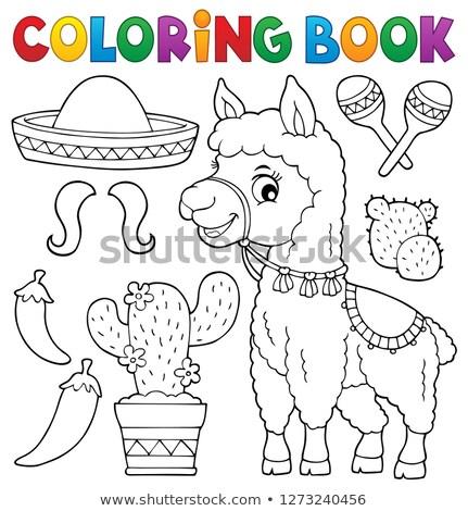 Lama sombrero reizen weefsel dier tekening Stockfoto © clairev