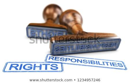 Rechten woorden witte twee rubber postzegels Stockfoto © olivier_le_moal