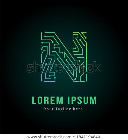 N betű logotípus szimbólum alkotóelem felirat szöveg Stock fotó © blaskorizov