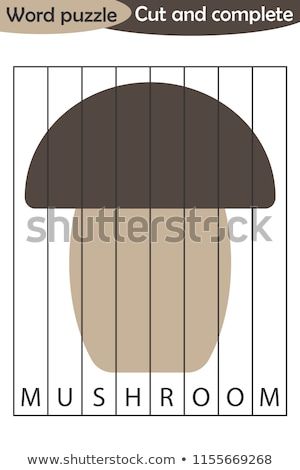 Spelling word scramble game template for mushroom Stock photo © colematt