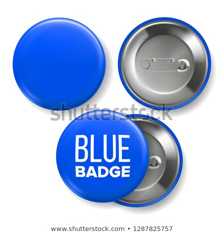 Blue Badge Mockup Vector. Pin Brooch Blue Button Blank. Two Sides. Front, Back View. Branding Design Stock photo © pikepicture