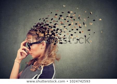 Oldal profil nő alkatrészek fej szimbólum Stock fotó © ichiosea