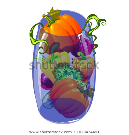 Blue glass transparent vase filled with ripe vegetables isolated on white background. Vector cartoon Stock photo © Lady-Luck