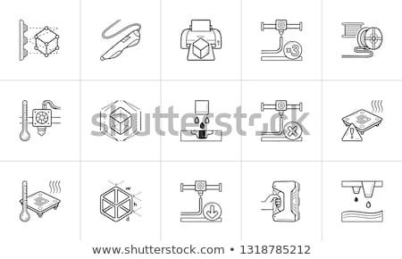 drop on demand 3d printing technology hand drawn outline doodle icon stock photo © rastudio
