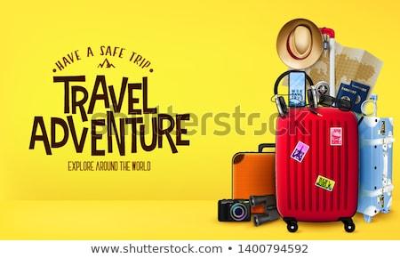 Zaman seyahat poster metin bagaj vektör Stok fotoğraf © robuart