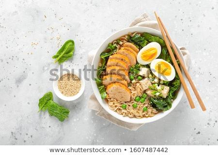 Ramen tészta leves ázsiai tyúk tál Stock fotó © szefei