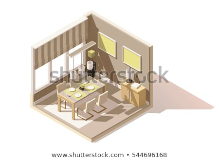Vector isometric dining room interior Stock photo © tele52