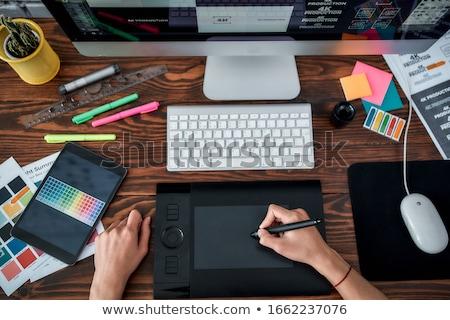 trabalhando · ocupado · escritório · computador · mulher - foto stock © elnur