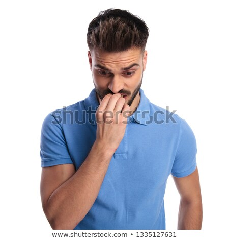frightened man feeling bad after making a mistake stock photo © feedough